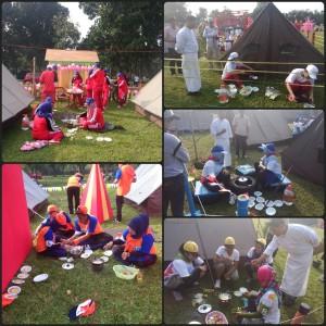 Para peserta jambore mengikuti lomba memasak telur
