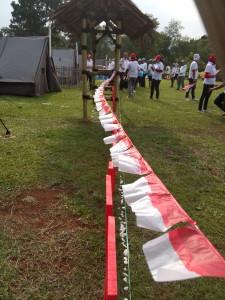 Sang merah putih berkibar dengan gagah di  tenda peserta Jambore