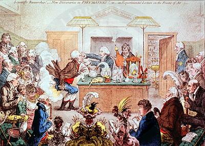 Percobaan penggunaan gas ketawa oleh Sir Humphry Davy. Ilustrasi dari www.chem-is-try.org